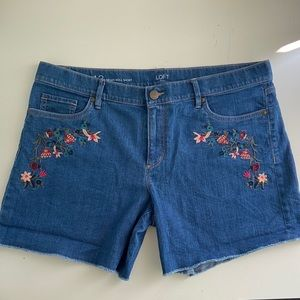 Ann Taylor Loft Denim Floral Shorts 12